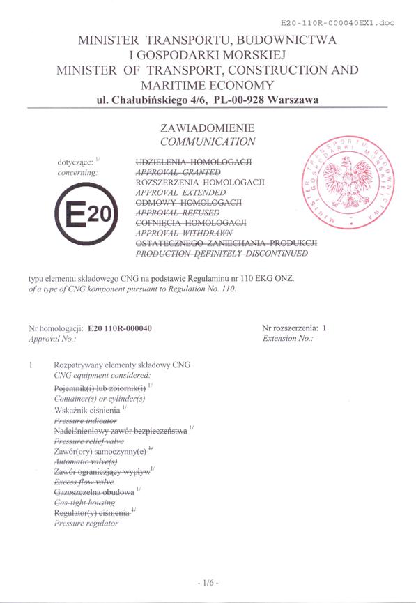 Homologation 110R-00 0040