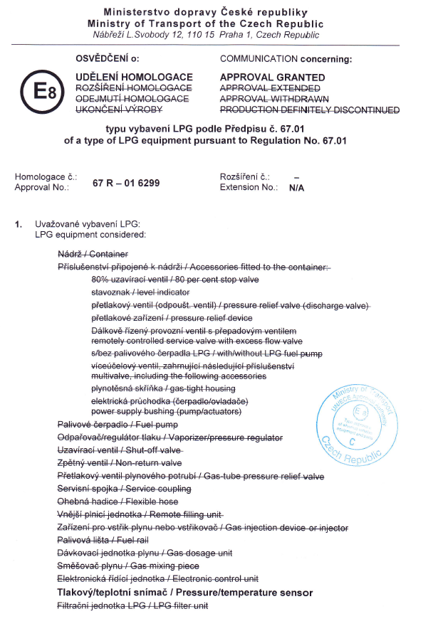 Homologation 67R-01 6299
