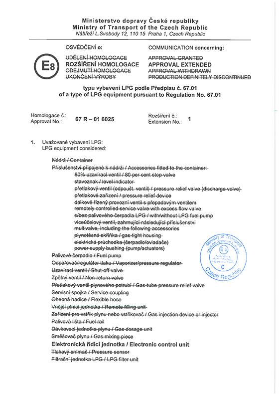 Homologation 67R-01 6025